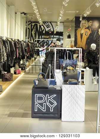ALBERTA,CANADA - SEPTEMBER 21, 2014: Interior of the DKNY store. DKNY is a New York-based fashion house specializing in fashion goods for men and women founded in 1984 by Donna Karan.