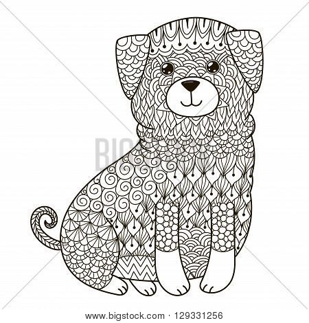 Zentangle dog for coloring page, shirt design, logo, tattoo and decoration. Vector illustration in boho and ornamental style poster