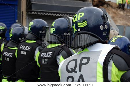 Riot Police following EDL (English Defence League) march in Luton, UK