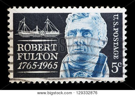 United States Used Postage Stamp Showing Shows A Portrait Of Robert Fulton