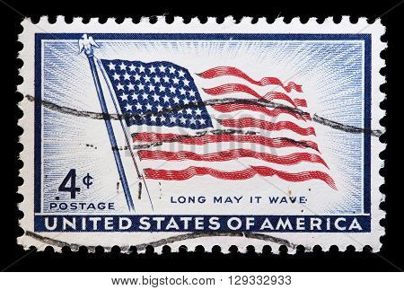 United States Used Postage Stamp Showing A Flag Of Usa
