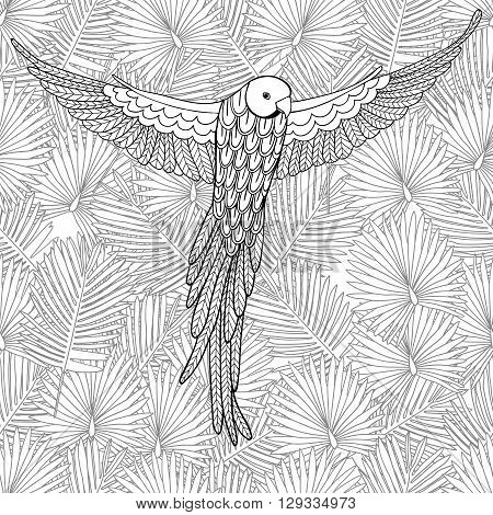 Cute parrot on the seamless background from palm leaves. Animals. Hand drawn doodle. Ethnic patterned illustration. African, indian, totem tatoo design. Sketch for avatar, tattoo, poster, print or t-shirt.