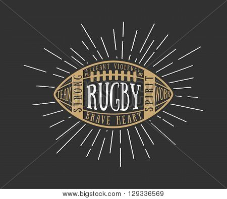 Rugby or american football ball with typography. Vector design illustration with lettering