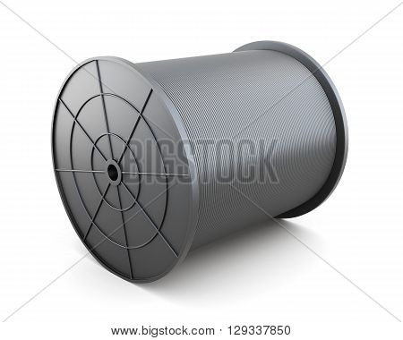 Cable on reel isolated on white background. Black cable. Black reel, spool, bobbin. 3d rendering.