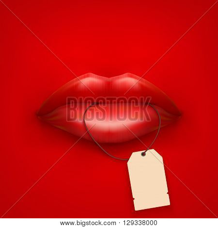 Vector Background of Womans mouth with tag and lips. Sale ot promotion illustration.