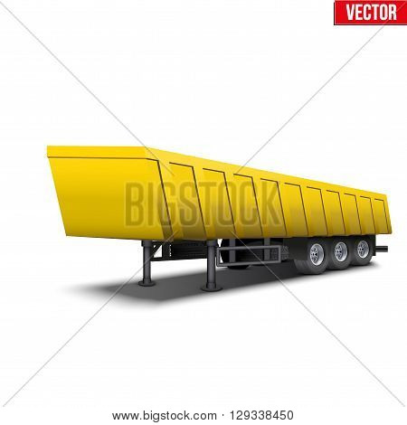 Blank parked yellow tipper semi trailer with canvas cover. Perspective side view. Vector Illustration Isolated on white background