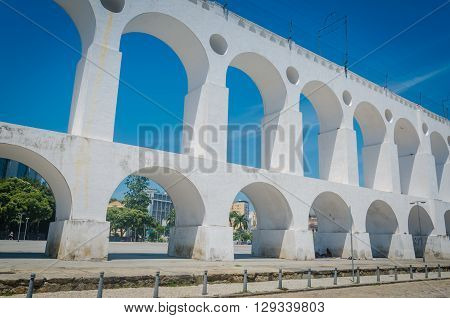 Rio De Janeiro, Brazil - March 06, 2016:  Landmark White Arches Of Arcos Da Lapa Under Bright Blue S