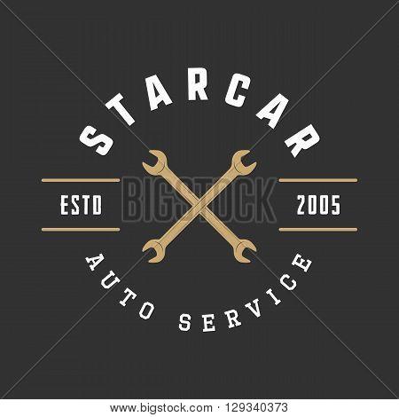 Vintage mechanic label emblem and logo. Vector illustration
