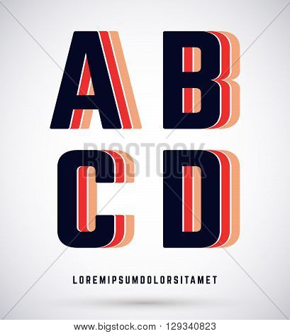 Set of typographic alphabet font template. Letters A B C D logo or icon. Vector illustration.