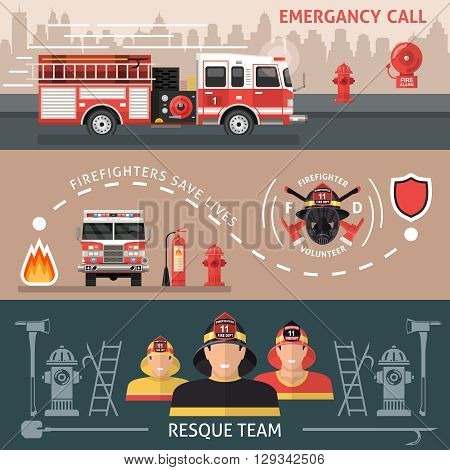 Three horizontal colored firefighter banner set with inscriptions of emergency call firefighters save lives and resque team vector illustration