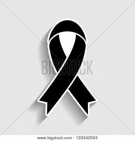 Black awareness ribbon sign. Sticker style icon with shadow on gray.