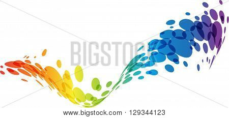 Abstract wave, rainbow colors tech background, design element