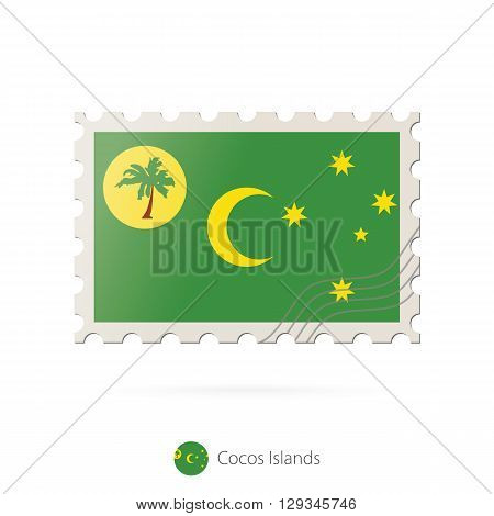 Postage Stamp With The Image Of Cocos Islands Flag.