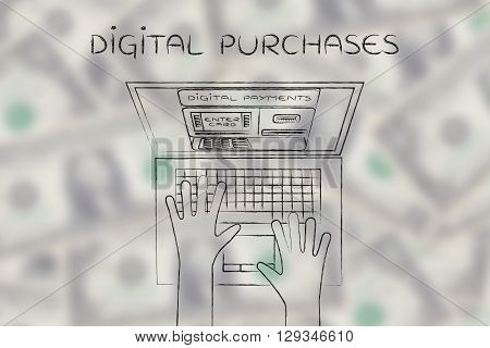 Automatic Teller Machine Inside Laptop Screen, Digital Purchase