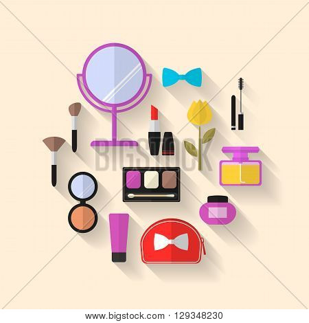 Beauty, Cosmetic and Makeup Vector flat Icons Set. Cosmetic products, makeup brushes, lipstick, perfume, eye makeup. Symbols for fashion, beauty salon or wellness centers. Women accessories.