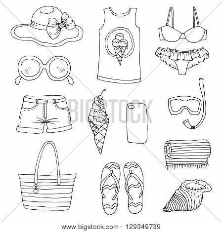 Vector drawn set summer fashion women beachwear and accessories. Various objects: bag, t-shirt, phone, shell, towel, shale, shorts,  glasses, swimsuit, ice cream, hat with  bow, diving mask and tube