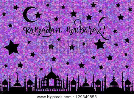 Card with mosques at night for wishes with beginning of fasting month of Ramadan as well with Islamic holiday Eid al-Fitr and Eid al-Adha. Stained glass kaleidoscope background. Vector illustration