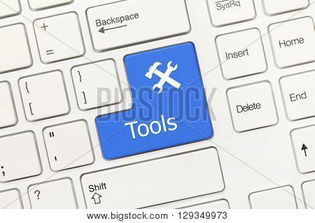White Conceptual Keyboard - Tools (blue Key)