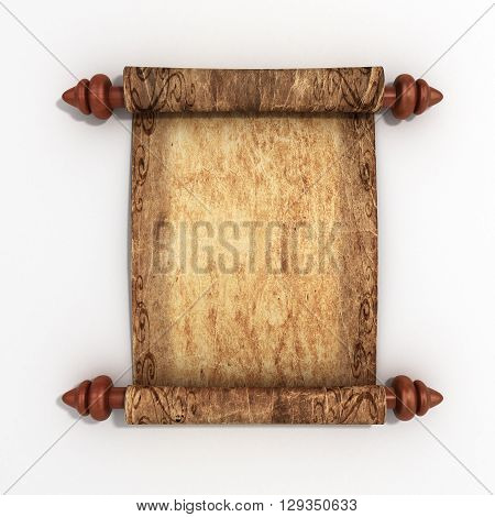 Old Papyrus Scroll Isolated On White Background 3D Illustration