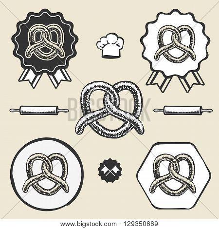 Pretzel bakery vintage symbol emblem label collection set