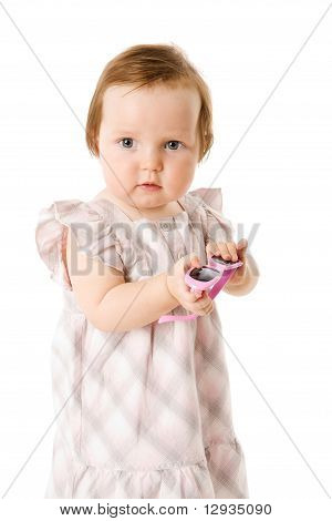 Baby Holding Sunglasses