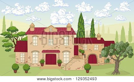 Summer landscape with house trees and clouds. Stone house with red tile roof. Cumulus clouds on blue sky. Hand drawn cartoon illustration.