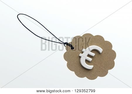 Close-up of 3d rendering sign of euro on paperboard label