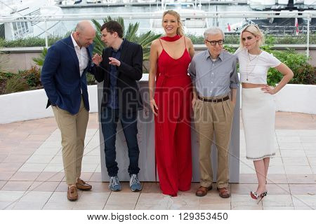 CANNES, FRANCE - MAY 11: C. Stoll, J. Eisenberg, B. Lively, Woody Allen, Kristen Stewart  'Cafe Society' photocall 69th Cannes Film Festival at Palais des Festivals on May 11, 2016 in Cannes, France.
