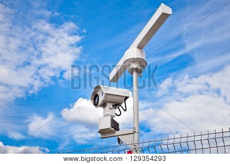 Radar surveillance system. Radar is used as the primary tool for scanning area and detect potential threats and optical sensor is only used to further assess the situation.