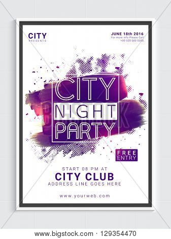 City Night Party Template, Dance Party Flyer, Night Party Banner or Club Invitation with glossy abstract design.