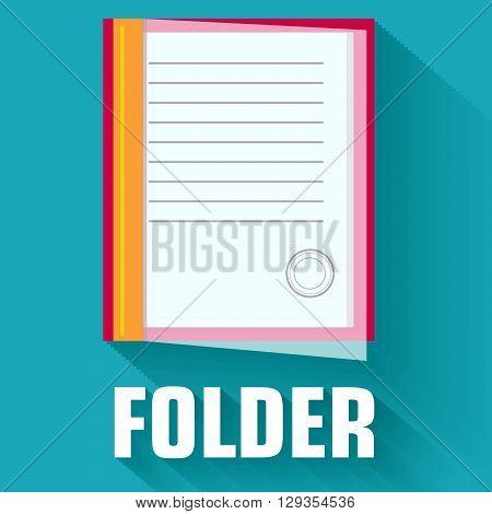 Flat Folder Icon Concept. Vector Illustration Design