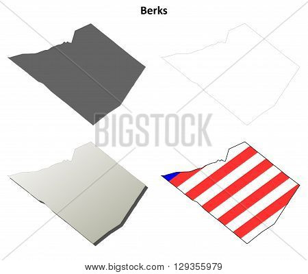 Berks County, Pennsylvania blank outline map set
