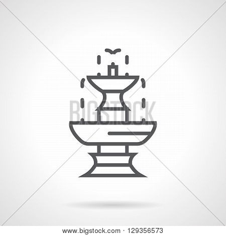Tiered fountain with flowing down drops. Classic stone decoration for urban parks, garden landscape. Simple black line vector icon. Single element for web design, mobile app.