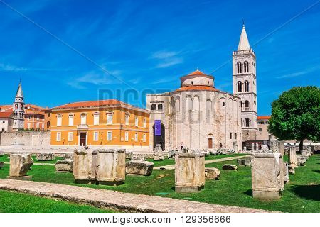 Zadar, Croatia - July 28, 2015: Church Of St. Donat, A Monumental Building From The 9Th Century With