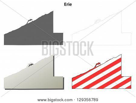 Erie County, Pennsylvania blank outline map set