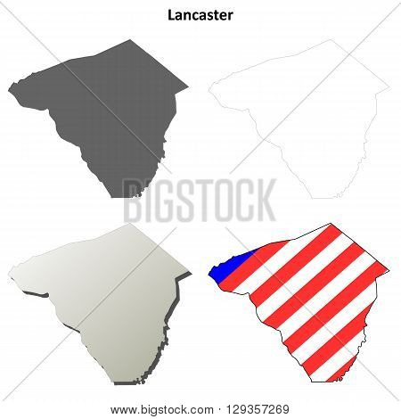 Lancaster County, Pennsylvania blank outline map set