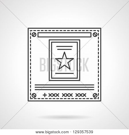 Square poster with star. Advertising messages, ads, sales presentation. Television announcements. Sign for advertising agency. Flat line style vector icon. Single design element for website, business.