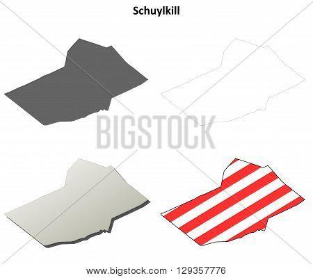 Schuylkill County, Pennsylvania blank outline map set