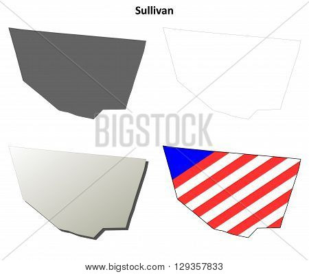 Sullivan County, Pennsylvania blank outline map set
