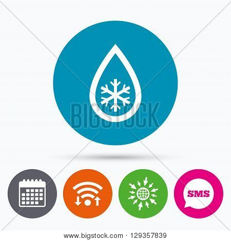 Wifi, Sms and calendar icons. Defrosting sign icon. From ice to water symbol. Go to web globe.