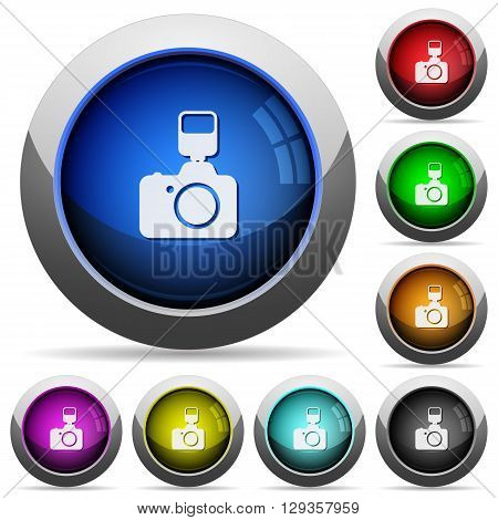 Set of round glossy camera buttons. Arranged layer structure.