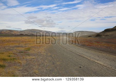 An empty Gravel Road in Iceland. Scandinavia