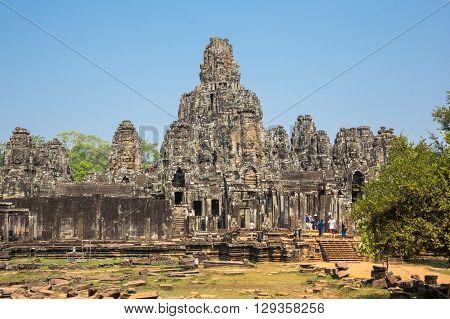 Bayon temple at Angkor Wat complex Siem Reap Cambodia