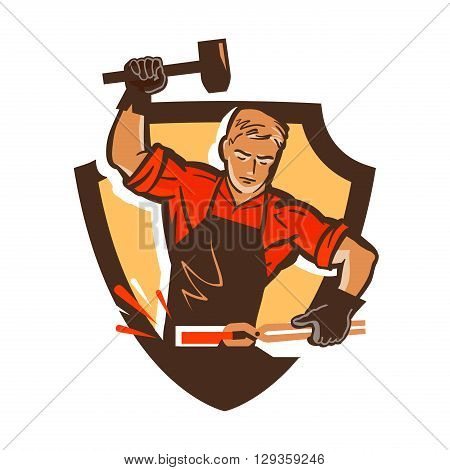 blacksmith, smithy logo or icon. vector illustration
