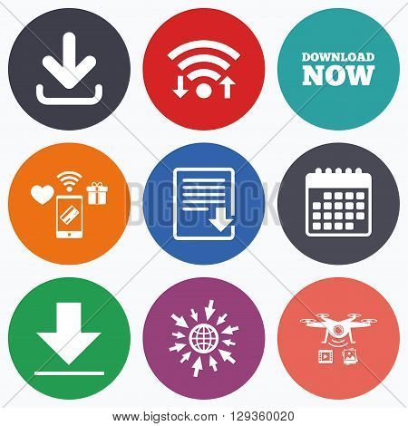 Wifi, mobile payments and drones icons. Download now icon. Upload file document symbol. Receive data from a remote storage signs. Calendar symbol.