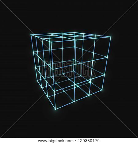 Wireframe Mesh Box. Connected dots and lines. Connection Structure. Digital Data Visualization Concept. Vector Illustration.