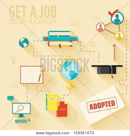 Get A Job For Begin A Career Infographic Background Concept In R