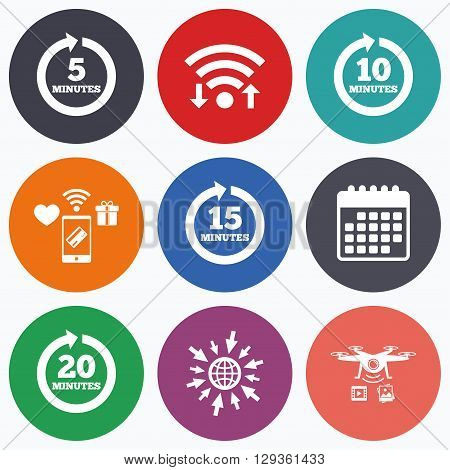 Wifi, mobile payments and drones icons. Every 5, 10, 15 and 20 minutes icons. Full rotation arrow symbols. Iterative process signs. Calendar symbol.