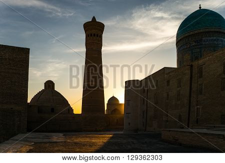 Uzbekistan Bukhara the Kalon minaret and mosque poster