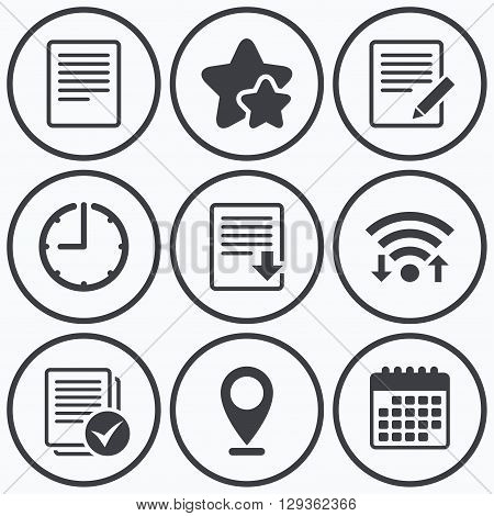 Clock, wifi and stars icons. File document icons. Download file symbol. Edit content with pencil sign. Select file with checkbox. Calendar symbol.